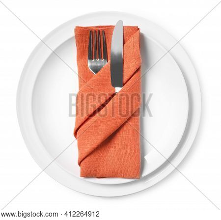 Plates With Cutlery And Napkin On White Background, Top View. Table Setting