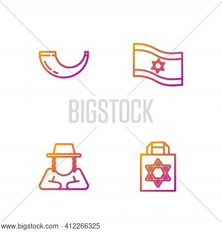 Set Line Shopping Bag With Star Of David, Orthodox Jewish Hat, Traditional Ram Horn, Shofar And Flag