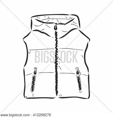Quilted Padded Vest For Boy Outline For Coloring On A White Background. Puffy Vest, Vector Sketch On