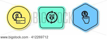 Set Line Credit Card, Coin Money With Yen And Hand Holding Coin. Colored Shapes. Vector