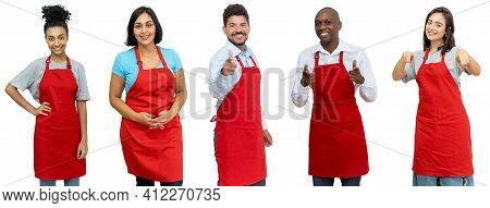 Waiters And Waitresses And Clerks - Group Of Beautiful Latin American And African And Caucasian Work
