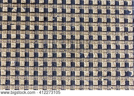 Squares On A Gray Background Are Illuminated With Hard Light, Seamless Pattern. The View From The To