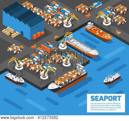 Aerial View Of Harbor Waterfront And Maritime Terminal With Container Ship Loading Isometric Poster