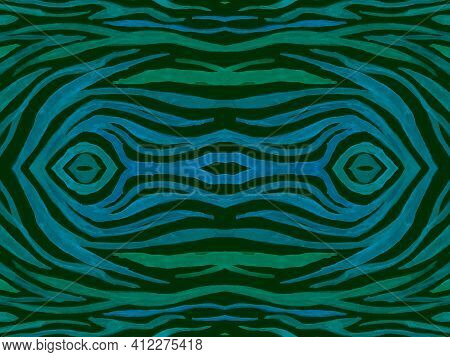 Seamless Ethnic Banner. Abstract Textile Design. Psychedelic Wildlife Ornament. Green Zebra Skin. Zo