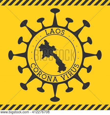 Corona Virus In Laos Sign. Round Badge With Shape Of Virus And Laos Map. Yellow Country Epidemy Lock