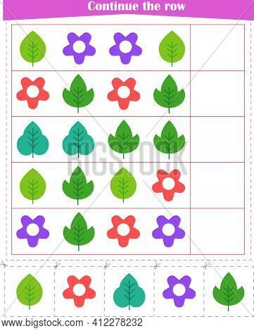 Logic Game For Children. We Continue The Row Of Leaves And Flowers. Worksheet. Vector Illustration