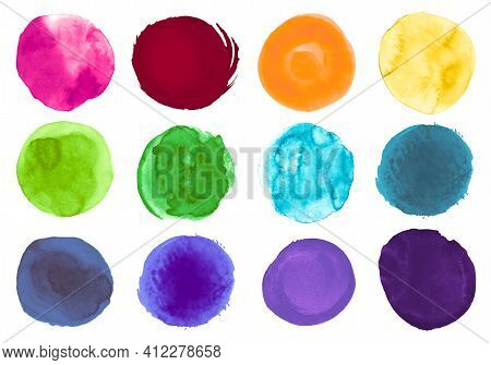 Colorful Watercolor Circles. Set Of Hand Paint Art Splashes. Drawn Drops Template. Brush Watercolor