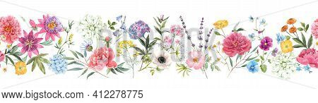 Beautiful Horizontal Seamless Floral Pattern With Watercolor Hand Drawn Gentle Summer Flowers. Stock