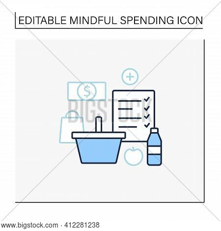 Shopping List Line Icon. Make Shopping List. Planning Buying. Only Needed Products. Thoughtful Spend