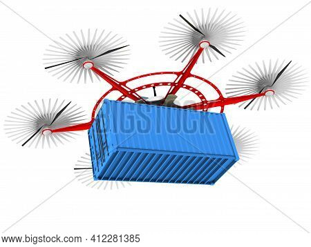 Hexacopter For Transportation Of Cargo Containers. Unmanned Aerial Vehicle With Six Propellers And O