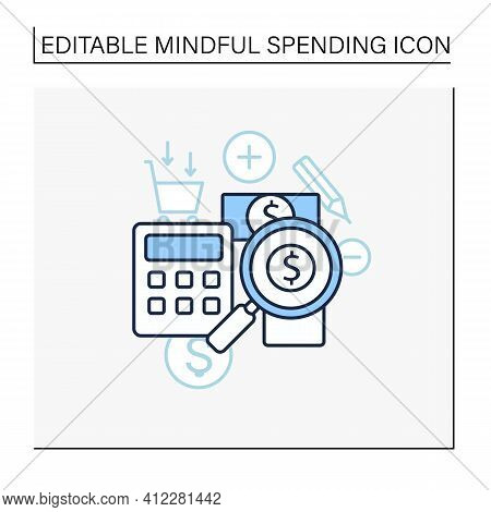 Track Spending Line Icon. Money Spent Calculations. Keep Accounts Track. Thoughtful Spending Money.