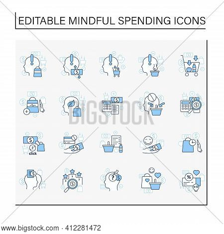 Mindful Spendings Line Icons Set. Conscious Buying, Conscious Consumer, Buy Less. Shopaholism, Sales