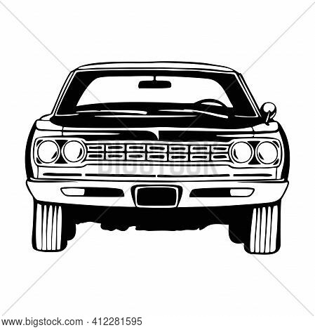 Muscle Car - Old Usa Classic Car, 1960s, Muscle Car Stencil - Vector Clip Art For Tshirt And Emblem