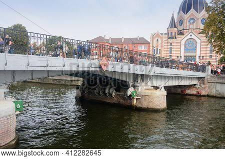 Kalininrad, Russia - September 2020: Pedestrian Drawbridge On Kant Island Next To Synagogue. Lifting