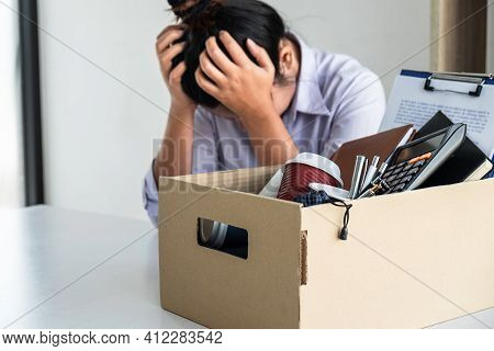 Stress Of Business Woman Employee Intend To Sending Resignation Letter To Boss Employer Consider In