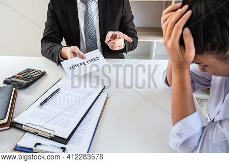 Business Boss Sending You're Fired Letter Or Final Remuneration To Layoff Employee In Order To Contr