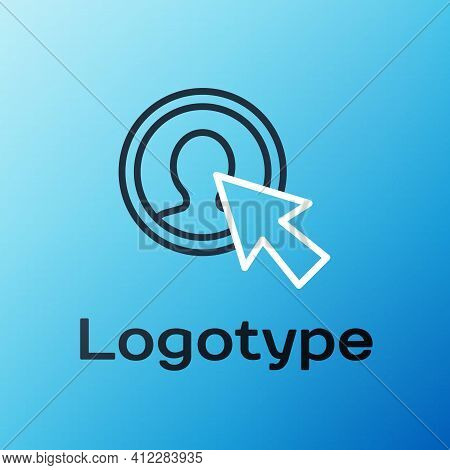 Line User Of Man In Business Suit Icon Isolated On Blue Background. Business Avatar Symbol - User Pr