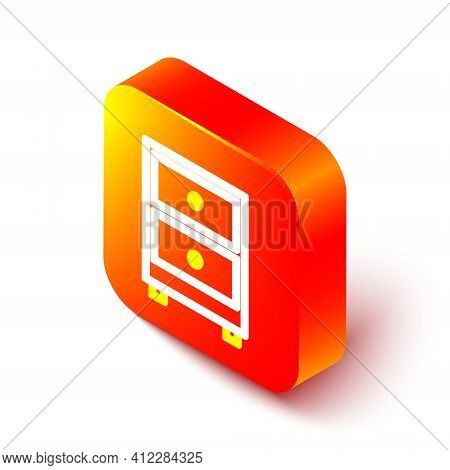 Isometric Line Drawer With Documents Icon Isolated On White Background. Archive Papers Drawer. File