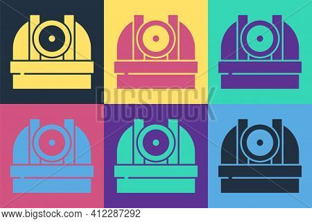 Pop Art Astronomical Observatory Icon Isolated On Color Background. Observatory With A Telescope. Sc