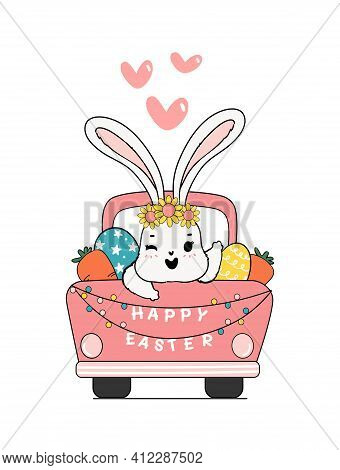 Cute Spring Bunny On Pink Car Truck With Easter Egg And Carrots, Happy Easter, Cute Cartoon Doodle D