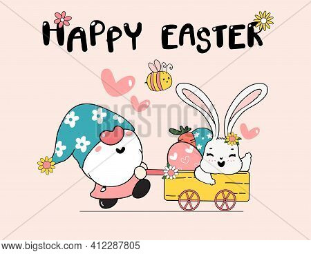 Cute Spring Bunny On Flower Easter Egg Happy Spring Easter, Cute Cartoon Doodle Drawing Illustration