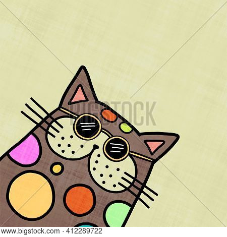 A Funny Illustration Of A Cat Character, Wearing Sunglasses.