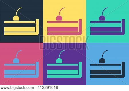 Pop Art Cherry Cheesecake Slice With Fruit Topping Icon Isolated On Color Background. Vector
