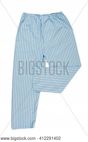 Sleep Pants Isolated. Women's Pajama Pants Of Blue Color Isolated On White, Top View.