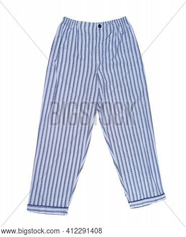 Striped Pajama Pants Of Blue Color From Isolated On White, Top View. Sleep Pants Close Up