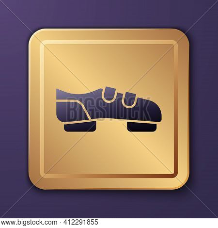 Purple Triathlon Cycling Shoes Icon Isolated On Purple Background. Sport Shoes, Bicycle Shoes. Gold