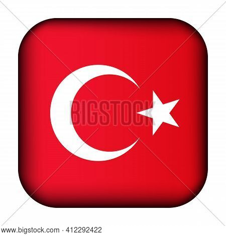 Glass Light Ball With Flag Of Turkey. Squared Template Icon. Turkish National Symbol. Glossy Realist
