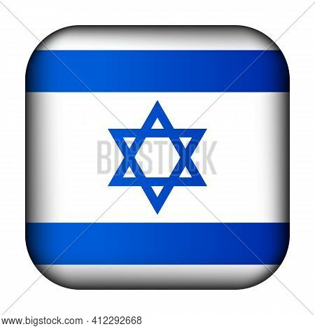 Glass Light Ball With Flag Of Israel. Squared Template Icon. Israeli National Symbol. Glossy Realist
