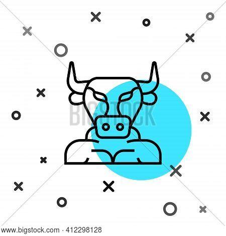 Black Line Minotaur Icon Isolated On White Background. Mythical Greek Powerful Creature The Half Hum