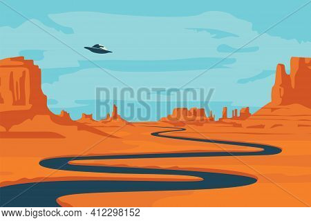 Vector Landscape With Deserted Valley, Mountains, Dark Winding River And Flying Saucer In The Sky. D