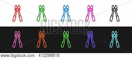 Set Line Bolt Cutter Icon Isolated On Black And White Background. Scissors For Reinforcement Bars To