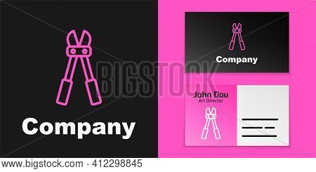 Pink Line Bolt Cutter Icon Isolated On Black Background. Scissors For Reinforcement Bars Tool. Logo