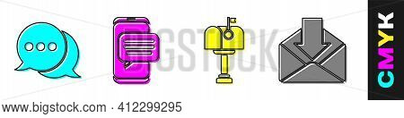 Set Speech Bubble Chat, Chat Messages Notification On Phone, Mail Box And Envelope Icon. Vector