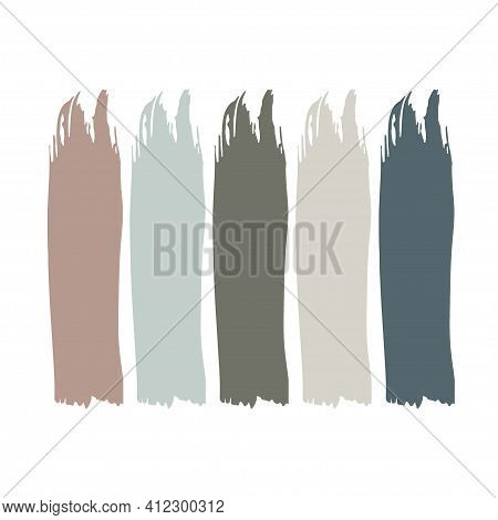 Trend Wedding Color Palette. Vector Paint Strokes Set. Different Color Spots Isolated On White Backg