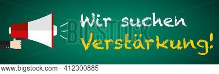 We Are Hiring Megaphone On Blackboard Banner In German Language Flat Design