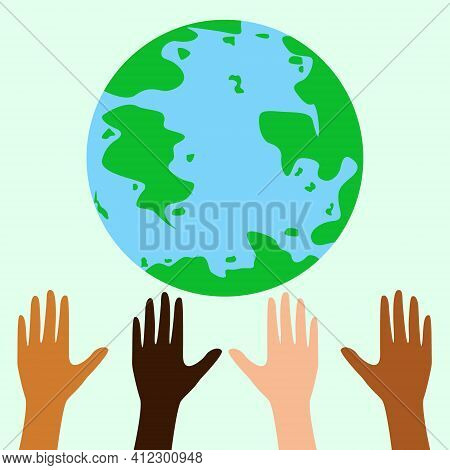 Earth Day Greeting Card. Save The Earth Poster. Hands Raised To The Globe. Vector Eco Flyer. Eps 10