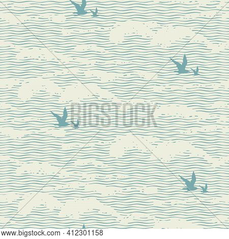 Vector Seamless Pattern With Abstract Wavy Pattern, Imitation Of The Sea Waves Or Clouds In The Sky.