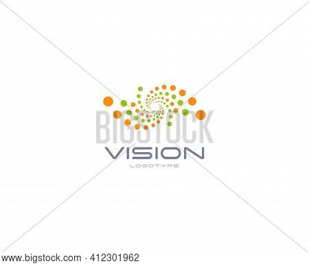 Laser Vision Correction, Clinic Logo Concept. Abstract Dots Logo. Medical Technology Of Eye Health,