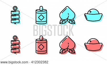 Set Line Peach Fruit, Firework, Firework And Sushi Icon. Vector