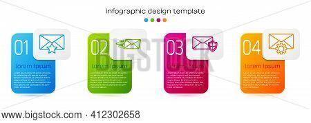 Set Line Envelope With Star, Express Envelope, Envelope With Shield And Envelope Setting. Business I