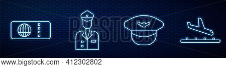 Set Line Pilot Hat, Airline Ticket, Pilot And Plane Landing. Glowing Neon Icon On Brick Wall. Vector