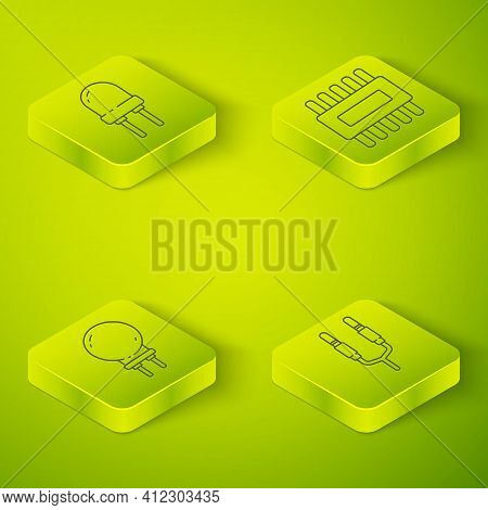Set Isometric Processor With Microcircuits Cpu, Light Emitting Diode, Audio Jack And Light Emitting