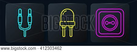 Set Line Audio Jack, Electrical Outlet And Light Emitting Diode. Black Square Button. Vector