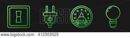 Set Line Ampere Meter, Multimeter, Voltmeter, Electric Light Switch, Electric Plug And Light Bulb Wi