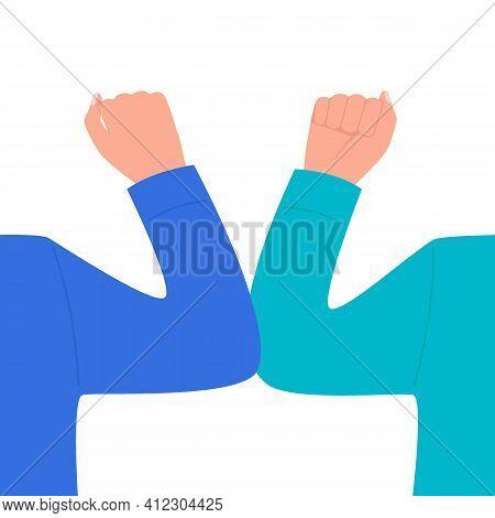 Elbow Bump Greeting. Safe Hello Of To Avoid Spread Of Coronavirus. Alternative To Handshake And Hugg