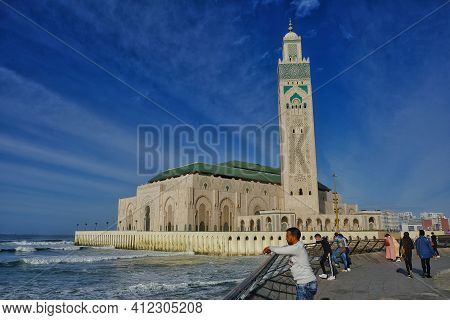 Casablanca,  Morocco - March 2, 2020 : The Beautiful Mosque Hassan 2 Next To The Sea In Casablanca M